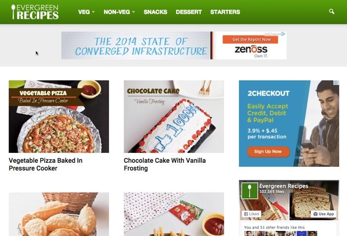 A Screenshot of Evergreen Recipes in September 2015