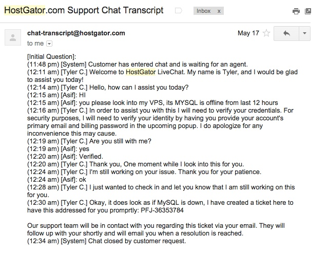 HG Chat MYSQL Down