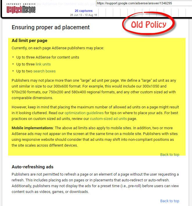 Google Adsense Old Policy